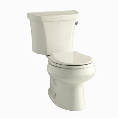 Wellworth Two-Piece Round-Front 1.28 GPF Toilet with Class Five Flush Technology, Right-Hand Trip Lever, Insuliner Tank Liner and Tank Cover Locks Finish: Almond