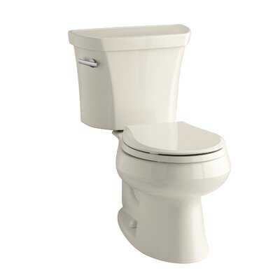 Wellworth Two-Piece Round-Front 1.28 GPF Toilet with Class Five Flush Technology, Left-Hand Trip Lever, Insuliner Tank Liner and Tank Cover Locks Finish: Almond