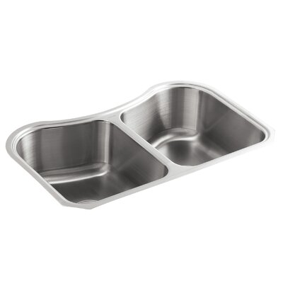 Staccato 31-5/8 x 19-9/16 x 8 Under-Mount Double-Equal Bowl Kitchen Sink