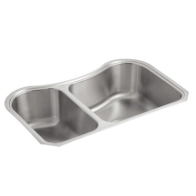 Staccato 31-5/8 x 19-9/16 x 8 Under-Mount Extra-Large/Medium Double-Bowl Kitchen Sink