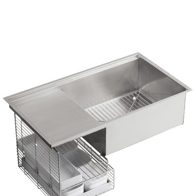 Stages 33 x 18-1/2 x 9-13/16 Under-Mount Single-Bowl with Wet Surface Area Kitchen Sink