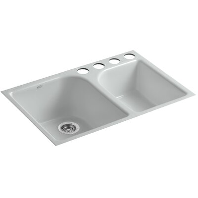 Executive Chef 33 x 22 x 10-5/8 Under-Mount Large/Medium, High/Low Double-Bowl Kitchen Sink with 4 Oversize Faucet Holes Finish: Ice Grey