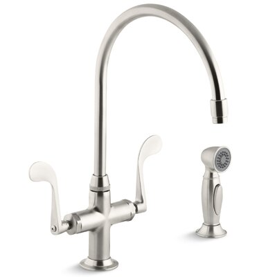 Essex Single-Hole Bar Faucet with 9 Gooseneck Spout and Accent Sidespray Finish: Vibrant Stainless