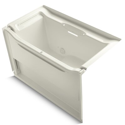 Elevance Rising Wall Alcove 60 x 34 Soaking Bathtub Finish: Biscuit, Drain Location: Left