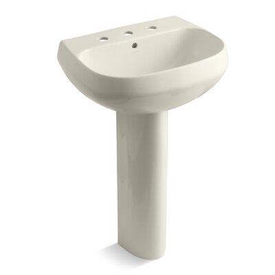 Wellworth� Ceramic 23 Pedestal Bathroom Sink with Overflow Finish: Almond