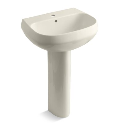 Wellworth 22 Pedestal Bathroom Sink with Overflow Finish: Almond