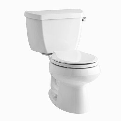 Wellworth Classic Two-Piece Round-Front 1.28 GPF Toilet with Class Five Flush Technology, Right-Hand Trip Lever and Tank Cover Locks Finish: White