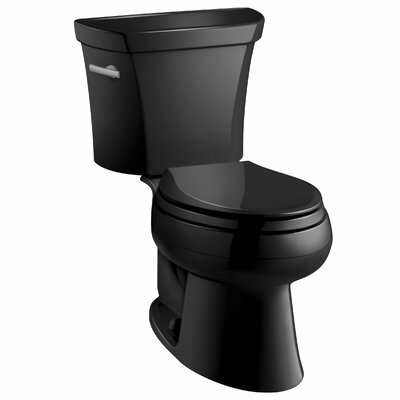 Wellworth Two-Piece Elongated 1.6 GPF Toilet with Class Five Flush Technology and Left-Hand Trip Lever Finish: Black Black
