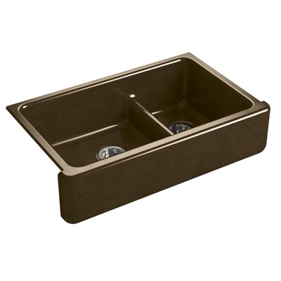 Whitehaven Self-Trimming Smart Divide 35-11/16 x 21-9/16 x 9-5/8 Under-Mount Large/Medium Double-Bowl Kitchen Sink with Tall Apron Finish: Black n Tan