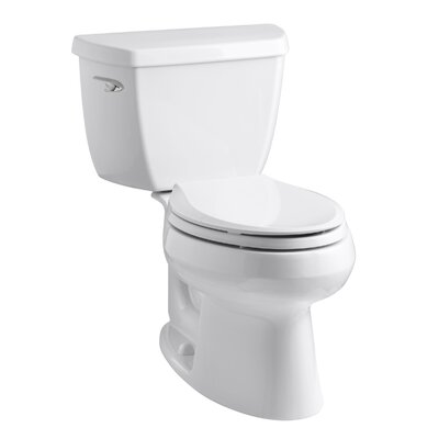 Wellworth Classic Two-Piece Elongated 1.28 GPF Toilet with Class Five Flush Technology and Left-Hand Trip Lever Finish: White