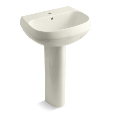 Wellworth� Ceramic 23 Pedestal Bathroom Sink with Overflow Finish: Biscuit