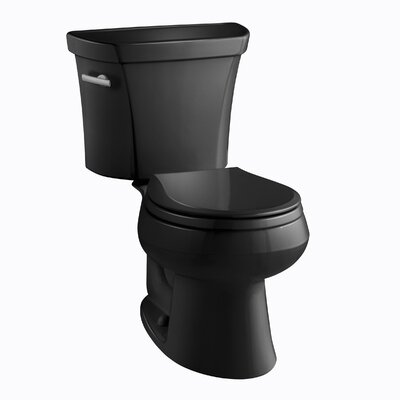 Wellworth Two-Piece Round-Front 1.6 GPF Toilet with Class Five Flush Technology, Left-Hand Trip Lever and Tank Cover Locks Finish: Black Black
