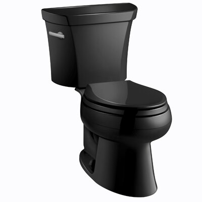 Wellworth Two-Piece Elongated 1.6 GPF Toilet with Class Five Flush Technology, Left-Hand Trip Lever and Tank Cover Locks Finish: Black Black