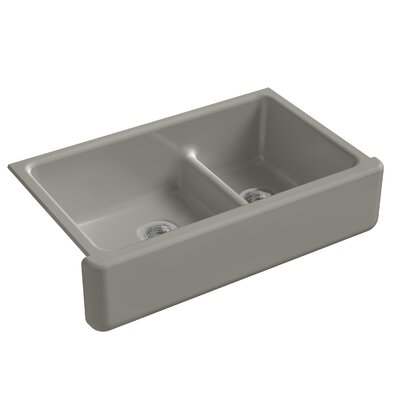 Whitehaven Self-Trimming Smart Divide 35-11/16 x 21-9/16 x 9-5/8 Under-Mount Large/Medium Double-Bowl Kitchen Sink with Tall Apron Finish: Cashmere