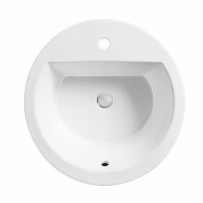 Bryant Ceramic Circular Drop-In Bathroom Sink with Overflow Finish: White, Faucet Hole Style: 4 Centerset