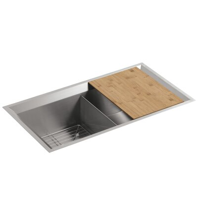Poise 33 x 18 x 9-1/2 Under-Mount Double-Equal Bowl Kitchen Sink with Mirror Finished Rim, Includes Cutting Board and Bottom Bowl Rack Finish: Standard