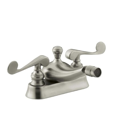 Revival Centerset Horizontal Swivel Spray Spout Bidet Faucet with Scroll Lever Handles Finish: Vibrant Brushed Nickel