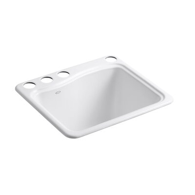 River Falls Under-Mount Utility Sink with 4 Faucet Holes - 3-Holes On Deck On The Left and Right-Hand Accessory Hole Finish: White