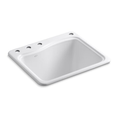 River Falls Top-Mount Utility Sink with 4 Faucet Holes - 3-Holes On Deck On The Left and Right-Hand Accessory Hole Finish: White