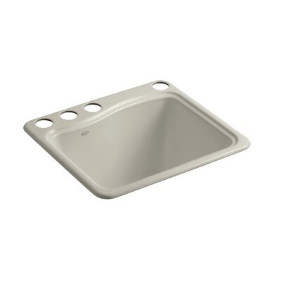River Falls Under-Mount Utility Sink with 4 Faucet Holes - 3-Holes On Deck On The Left and Right-Hand Accessory Hole Finish: Sandbar