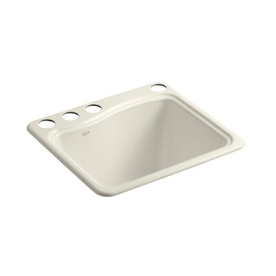 River Falls Under-Mount Utility Sink with 4 Faucet Holes - 3-Holes On Deck On The Left and Right-Hand Accessory Hole Finish: Almond