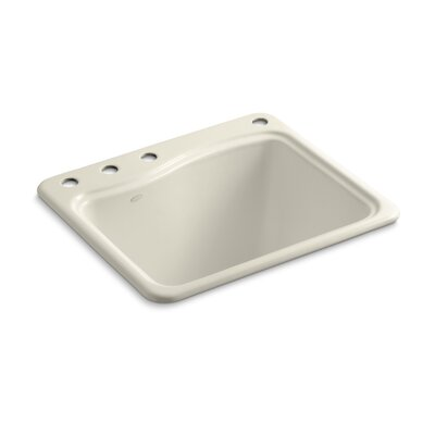 River Falls Top-Mount Utility Sink with 4 Faucet Holes - 3-Holes On Deck On The Left and Right-Hand Accessory Hole Finish: Almond