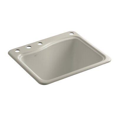 River Falls Top-Mount Utility Sink with 4 Faucet Holes - 3-Holes On Deck On The Left and Right-Hand Accessory Hole Finish: Sandbar