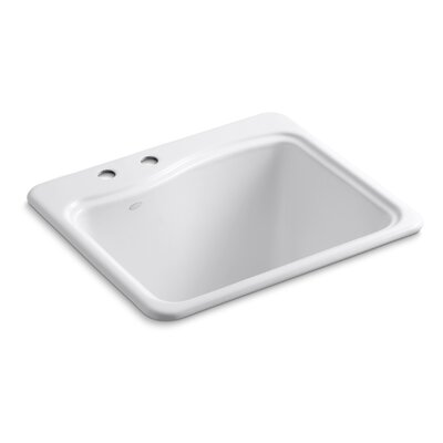 River Falls Metal Rectangular Drop-In Bathroom Sink Finish: White, Number of Faucet Holes: 2
