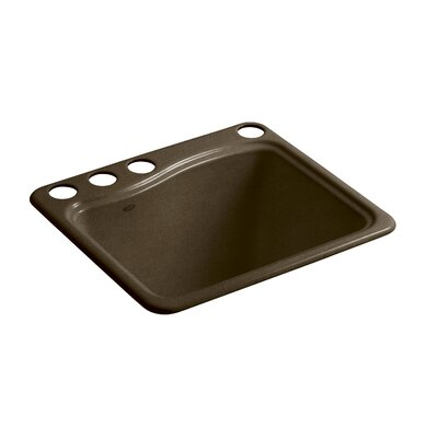 River Falls Under-Mount Utility Sink with 4 Faucet Holes - 3-Holes On Deck On The Left and Right-Hand Accessory Hole Finish: Black n Tan