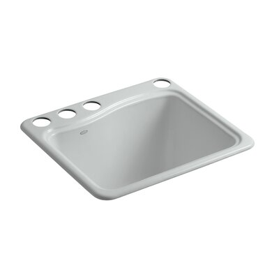 River Falls Under-Mount Utility Sink with 4 Faucet Holes - 3-Holes On Deck On The Left and Right-Hand Accessory Hole Finish: Ice Grey