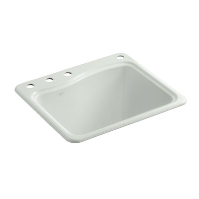 River Falls Top-Mount Utility Sink with 4 Faucet Holes - 3-Holes On Deck On The Left and Right-Hand Accessory Hole Finish: Sea Salt