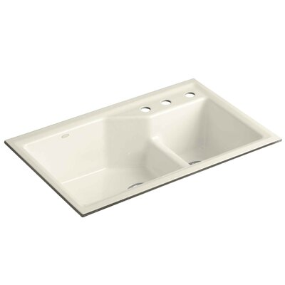 Indio 33 x 21-1/8 x 9-3/4 Under-Mount Smart Divide Large/Small Double-Bowl Kitchen Sink Finish: Biscuit, Faucet Drillings: 3 Hole