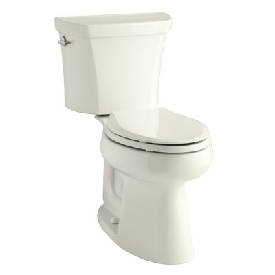 Highline Comfort Height Two-Piece Elongated Dual-Flush Toilet with Class Five Flush Technology and Left-Hand Trip Lever Finish: Biscuit