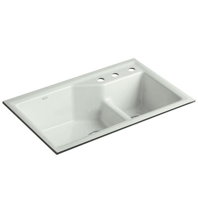 Indio 33 x 21-1/8 x 9-3/4 Under-Mount Smart Divide Large/Small Double-Bowl Kitchen Sink Finish: Sea Salt, Faucet Drillings: 3 Hole