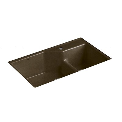 Indio 33 x 21-1/8 x 9-3/4 Under-Mount Smart Divide Large/Small Double-Bowl Kitchen Sink Finish: Black n Tan, Faucet Drillings: 1 Hole