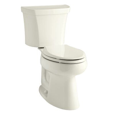 Highline Comfort Height Two-Piece Elongated 1.28 GPF Toilet with Class Five Flush Technology, Right-Hand Trip Lever, Insuliner Tank Liner and Tank Cover Locks Finish: Biscuit
