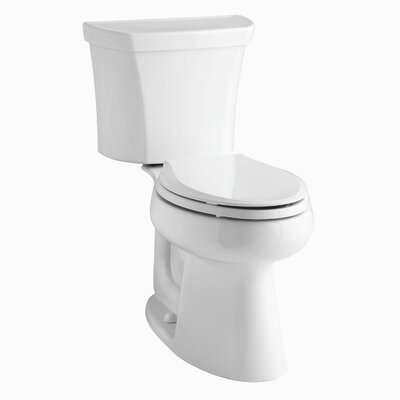 Highline Comfort Height Two-Piece Elongated 1.6 GPF Toilet with Class Five Flush Technology, Right-Hand Trip Lever and Tank Cover Locks Finish: White