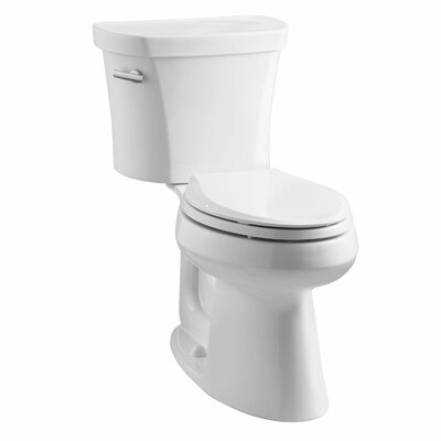 Highline Comfort Height Two-Piece Elongated 1.28 GPF Toilet with Class Five Flush Technology, Left-Hand Trip Lever and Tank Cover Locks Finish: White