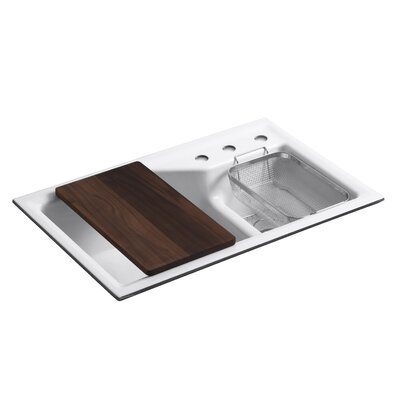 Indio 33 x 21-1/8 x 9-3/4 Under-Mount Smart Divide Large/Small Double-Bowl Kitchen Sink Finish: White, Number of Faucet Holes: 3
