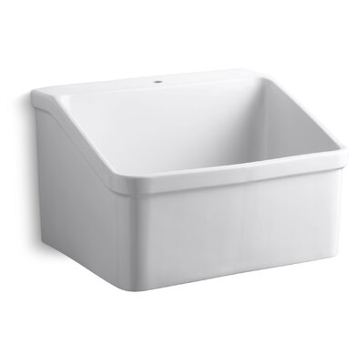 Hollister 28 x 22Single Bracket-Mounted Utility Sink with Faucet Hole
