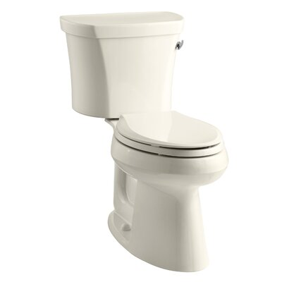 Highline Comfort Height Two-Piece Elongated 1.28 GPF Toilet with Class Five Flush Technology, Right-Hand Trip Lever, Insuliner Tank Liner and Tank Cover Locks Finish: Almond