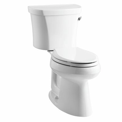 Highline Comfort Height Two-Piece Elongated 1.28 GPF Toilet with Class Five Flush Technology, Right-Hand Trip Lever, Insuliner Tank Liner and Tank Cover Locks Finish: White