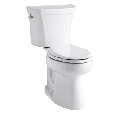 Highline Comfort Height Two-Piece Elongated Dual-Flush Toilet with Class Five Flush Technology and Left-Hand Trip Lever Finish: White