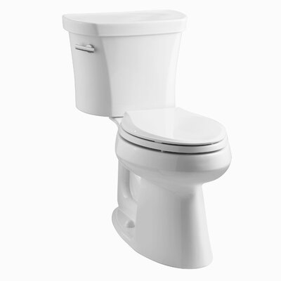 Highline Comfort Height Two-Piece Elongated 1.28 GPF Toilet with Class Five Flush Technology, Left-Hand Trip Lever, Insuliner Tank Liner and Tank Cover Locks Finish: White