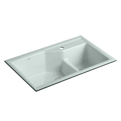Indio 33 x 21-1/8 x 9-3/4 Under-Mount Smart Divide Large/Small Double-Bowl Kitchen Sink Finish: Suede, Faucet Drillings: 3 Hole