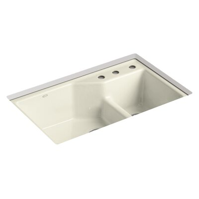 Indio 33 x 21-1/8 x 9-3/4 Under-Mount Smart Divide Large/Small Double-Bowl Kitchen Sink Finish: Cane Sugar, Faucet Drillings: 3 Hole