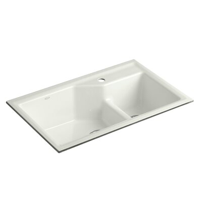 Indio 33 x 21-1/8 x 9-3/4 Under-Mount Smart Divide Large/Small Double-Bowl Kitchen Sink Finish: Dune, Faucet Drillings: 1 Hole
