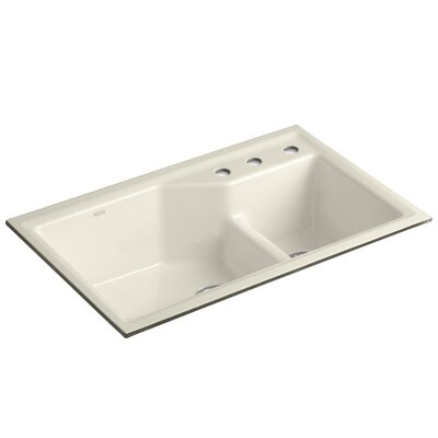 Indio 33 x 21-1/8 x 9-3/4 Under-Mount Smart Divide Large/Small Double-Bowl Kitchen Sink Finish: Almond, Faucet Drillings: 3 Hole
