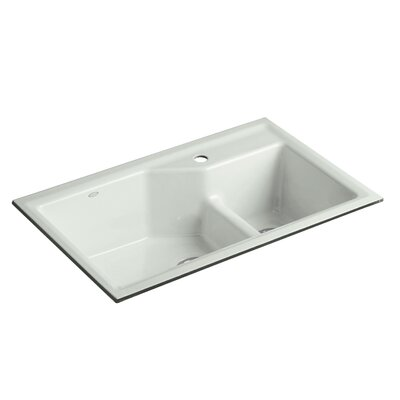 Indio 33 x 21-1/8 x 9-3/4 Under-Mount Smart Divide Large/Small Double-Bowl Kitchen Sink Finish: Sea Salt, Faucet Drillings: 1 Hole