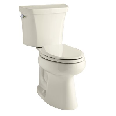 Highline Comfort Height Two-Piece Elongated Dual-Flush Toilet with Class Five Flush Technology and Left-Hand Trip Lever Finish: Almond